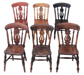 Antique rustic mixed set of 6 ash elm lyre back kitchen dining chairs
