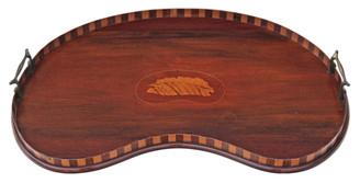 Antique Edwardian inlaid mahogany walnut kidney shaped serving tray tea
