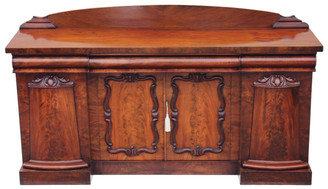 Antique large 19C William IV / Victorian mahogany sideboard chiffonier