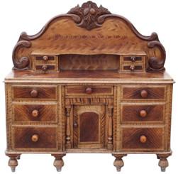 Antique 19C Victorian scumble glazed pine Lancashire dresser sideboard