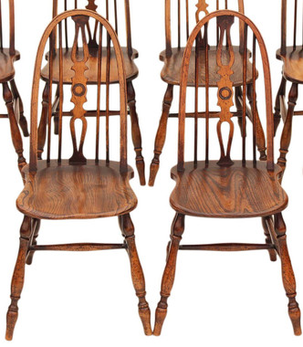 Antique pair of Windsor ash elm beech dining chairs revival