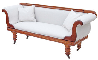 Antique Victorian scroll arm sofa chaise longue satin walnut mahogany