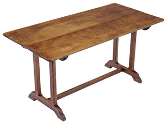 Antique Victorian C1900 oak refectory dining table kitchen Gothic