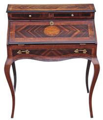 Antique 19C French Bonheur de jours writing desk bureau table marquetry
