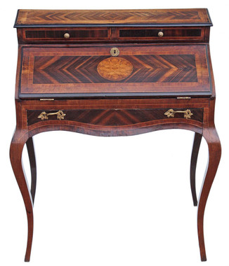 Antique 19C French Bonheur de jours writing desk bureau table marquetry