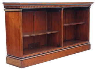 Antique large Victorian oak bookcase display shelves