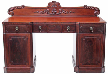 Antique large quality Regency flame mahogany sideboard chiffonier