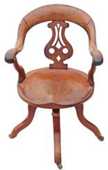 Antique Victorian mahogany desk office elbow swivel chair