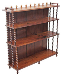 Antique large Victorian elm and pine waterfall bookcase display shelves
