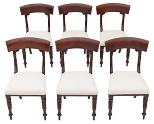 Antique set of 6 William IV carved Cuban mahogany dining chairs bar back