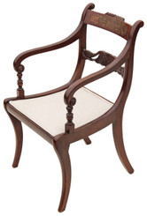 Antique Regency brass inlaid faux rosewood elbow desk carver chair