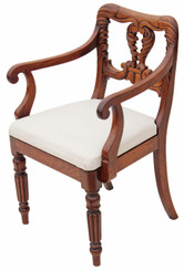 Antique rare William IV Victorian elbow desk chair carved mahogany