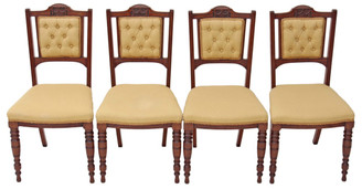 Antique set of 4 Victorian walnut dining parlour chairs