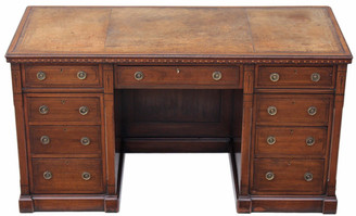 Antique quality Victorian aesthetic inlaid walnut twin pedestal desk
