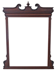 Antique very large quality Victorian walnut wall mirror overmantle carved