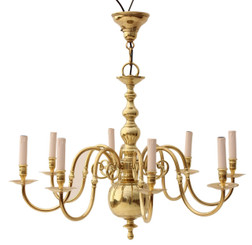 Antique 8 lamp polished brass chandelier Flemish FREE DELIVER