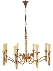 Antique 8 lamp ormolu brass onyx chandelier Art Deco FREE DELIVERY