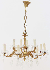Antique 12 lamp ormolu brass crystal chandelier FREE DELIVERY