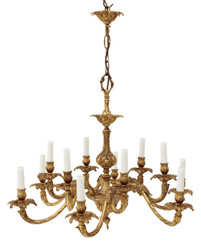 Antique 12 lamp ormolu brass chandelier FREE DELIVERY
