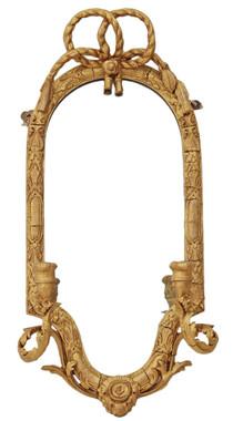 Antique 19th Century girandole wall mirror overmantle
