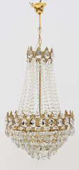 Antique large ormolu brass crystal basket chandelier FREE DELIVERY