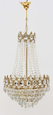 Antique large ormolu brass crystal basket chandelier FREE DELIVERY