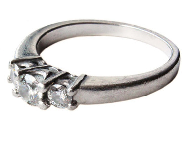 Platinum 950 diamond 3 stone ring 0.50ct