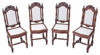 Antique set of 4 Victorian Gothic carved oak dining chairs high back