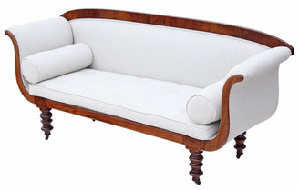 Antique Regency / early Victorian scroll arm sofa chaise longue mahogany
