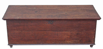 Antique Georgian 19C oak mule chest coffer blanket box coffee table