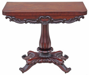 Antique quality Regency carved mahogany folding card tea console table