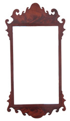 Antique 19th Century Georgian fret cut flame mahogany wall mirror