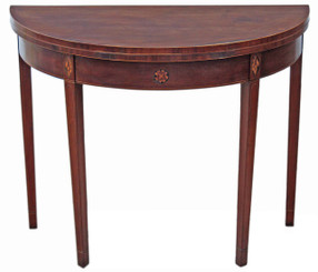 Antique 19C Regency inlaid mahogany folding card tea console table demi-lune