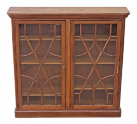 Antique quality Victorian oak astral glazed bookcase display cabinet shelves