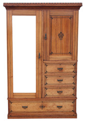Antique quality Victorian Aesthetic pitch pine wardrobe linen press