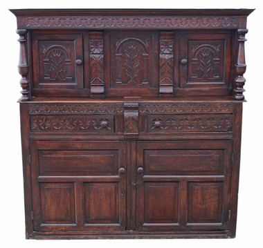 Antique large Gothic Georgian 18C oak court cupboard sideboard coffer