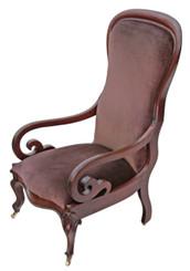 Antique quality Victorian ladies scroll armchair chair nursing