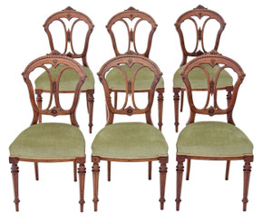 Antique set of 6 Victorian walnut dining chairs C1880 Aesthetic