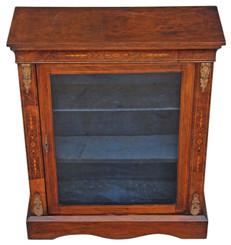 Antique Victorian walnut aesthetic glazed pier display cabinet bookcase