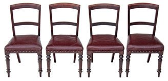 Antique set of 4 Victorian mahogany leather dining chairs C1880 Aesthetic
