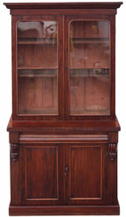 Antique large Victorian mahogany glazed bookcase display cabinet cupboard