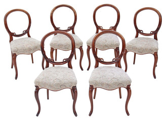 Antique rare set of 6 Victorian rosewood dining chairs balloon back