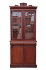 Antique tall Victorian mahogany glazed bookcase display cabinet cupboard