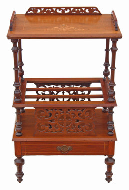Antique Victorian inlaid walnut Canterbury magazine rack side table