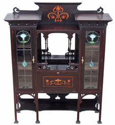 Antique large Art Nouveau inlaid mahogany leaded glass display cabinet