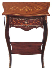 Antique quality mahogany French marquetry ormolu side table occasional