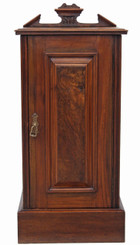 Antique Victorian burr walnut bedside table cupboard cabinet