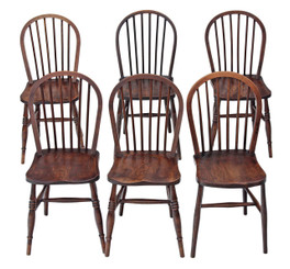 Antique near set of 6 spindle back ash elm beech kitchen dining chairs