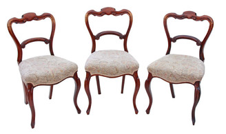 Antique set of 3 Victorian rosewood dining chairs balloon back