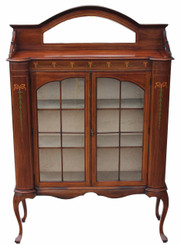 Antique large Edwardian Art Nouveau inlaid mahogany glazed display cabinet